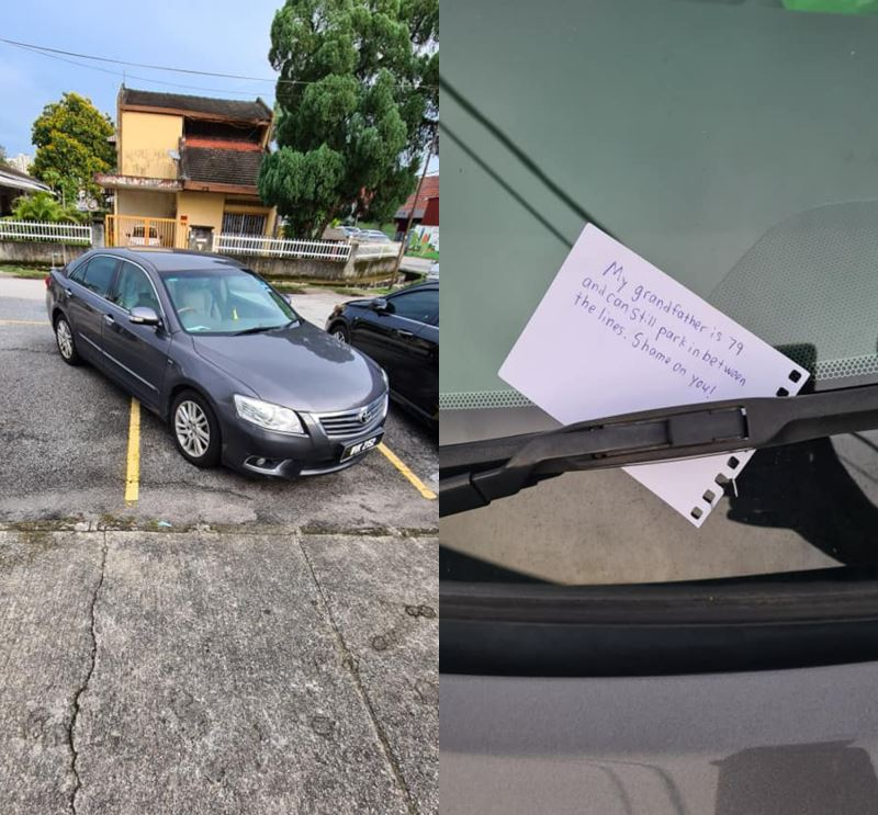 """this m'sian left a """"kind note"""" on a stranger's car that parked out of the lines"""