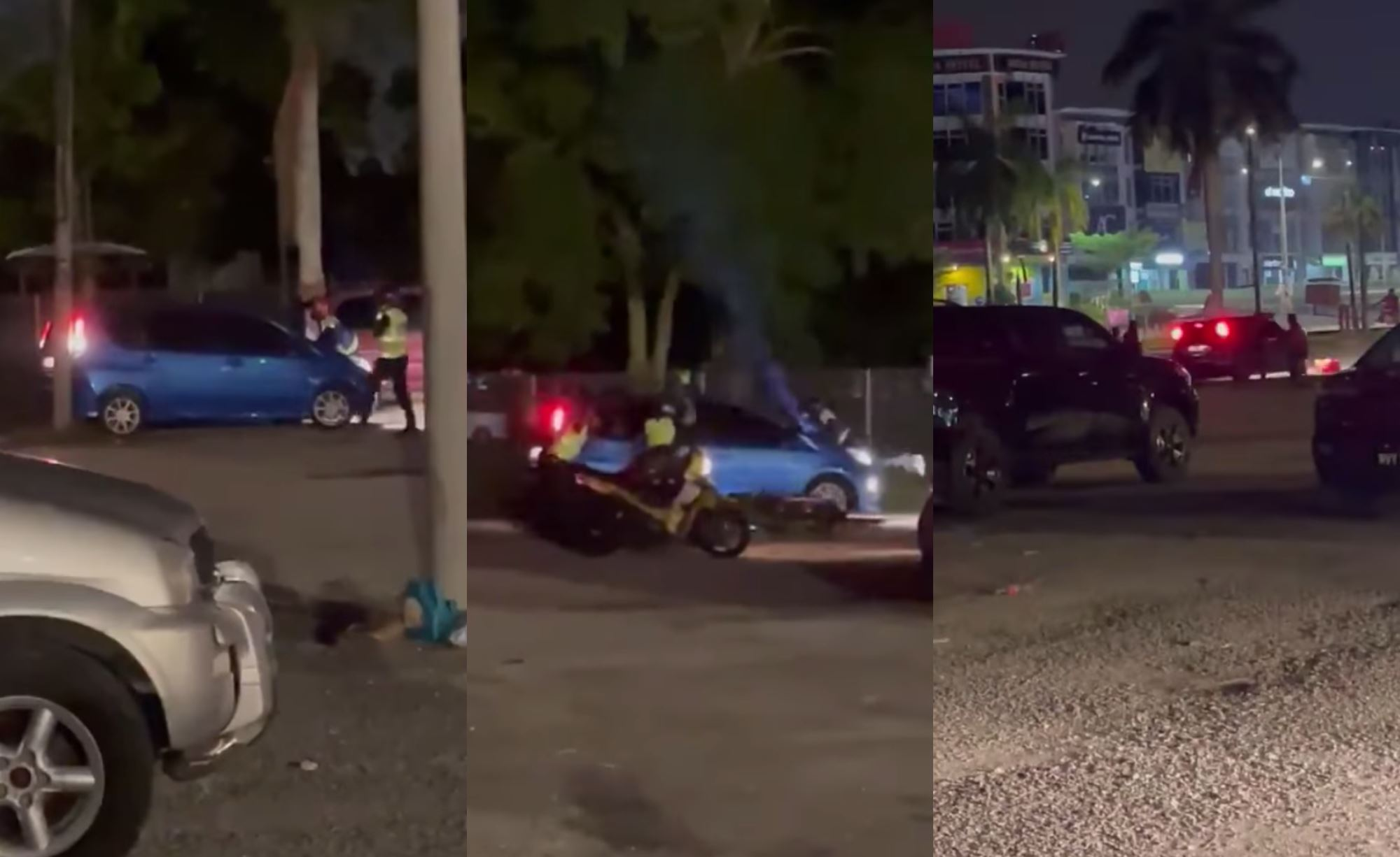 this couple tried to escape pdrm officers, drove away with policeman on bonnet