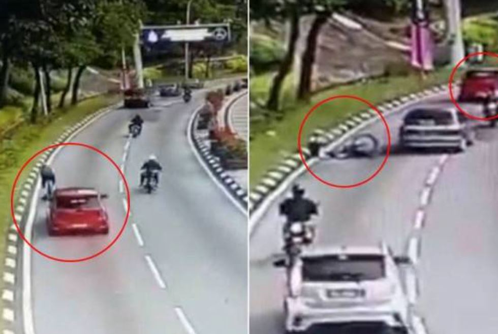 car driver knocks down cyclist in a hit-and-run near dataran merdeka
