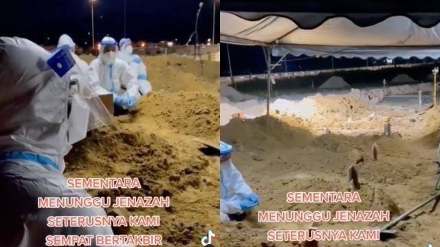 netizen sebak dengar 'frontliner' takbir raya tepi pusara sementara menunggu kebumi jenazah covid-19